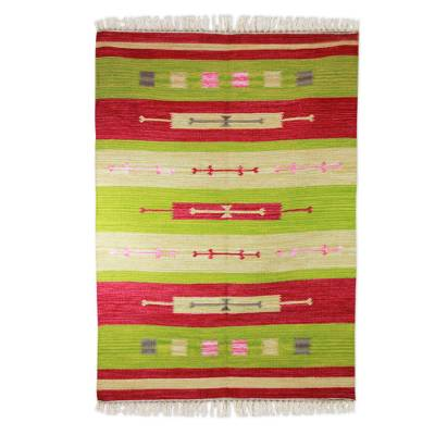 Wool dhurrie rug, 'Cherry Lime Geometry' (4x6) - Wool dhurrie rug (4x6)