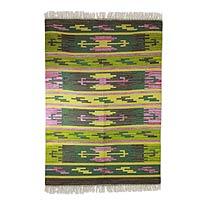 Wool dhurrie rug, 'Tribal Jade' (4x6) - Wool dhurrie rug (4x6)