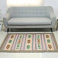 Wool dhurrie rug, 'Song of Spring' (4x6) - Wool dhurrie rug (4x6)