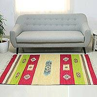 Wool dhurrie rug, 'Bright Geometry' (4x6) - Wool dhurrie rug (4x6)