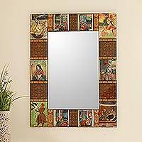 Decoupage wall mirror, 'Mughal Memories' - Decoupage wall mirror