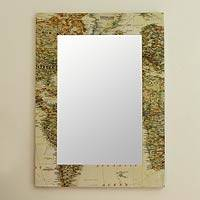 Decoupage wall mirror, 'Globetrotter' - Decoupage wall mirror