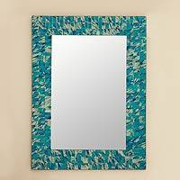 Mosaic glass mirror, 'Silver Beach'
