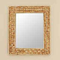 Wall mirror, 'Whispering Bamboo' - Wall mirror