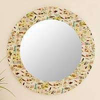 Decoupage wall mirror, 'Birds of the World' - Mirror