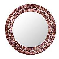 Glass mosaic wall mirror, 'Indian Earth' - Mirror