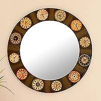 Decoupage wall mirror, 'The Faces of Time' - Mirror