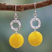 Sterling silver dangle earrings, 'Sunshine Cheer' - Sterling Silver and Agate Earrings Modern Jewelry