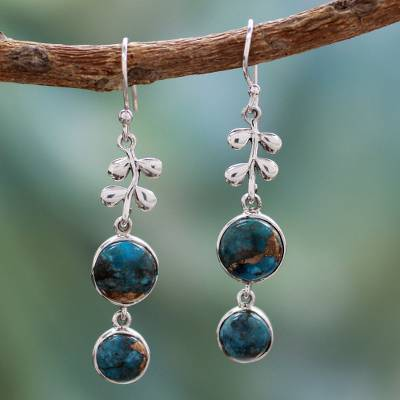 Sterling silver dangle earrings, Sweet Blueberries