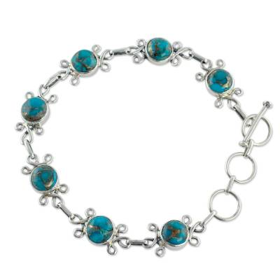 Sterling Silver and Composite Turquoise Bracelet
