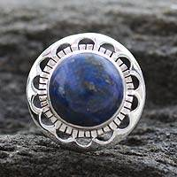 Lapis lazuli cocktail ring, 'Blue Moon Halo' - Unique Sterling Silver Single Stone Lapis Lazuli Ring