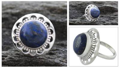 wide silver thumb ring technique - Unique Sterling Silver Single Stone Lapis Lazuli Ring