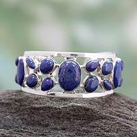 Lapis lazuli cuff bracelet, 'Summer Sea'