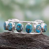Composite turquoise cuff bracelet,