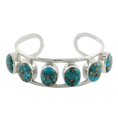 Sterling Silver Cuff Bracelet with Composite Turquoise Studs