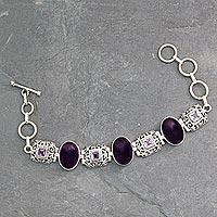 Amethyst link bracelet, 'Imperial' - Amethyst link bracelet