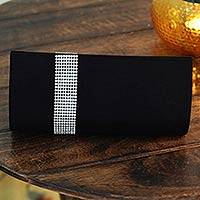 Beaded clutch evening bag, 'Midnight Sparkle' - Beaded clutch evening bag