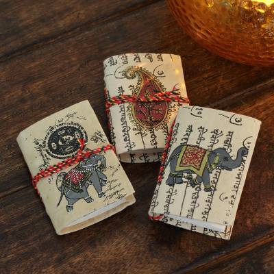 Handmade paper mini journals, 'Jaipur Verses' (set of 3) - Handmade paper mini journals (Set of 3)