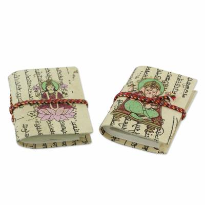 Handmade paper journals, 'Lakshmi and Ganesha' (pair) - Handmade paper journals (Pair)