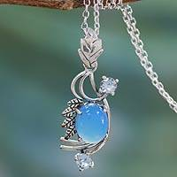 Chalcedony and blue topaz pendant necklace, 'Mughal Romance' - Chalcedony and Blue Topaz Pendant Necklace