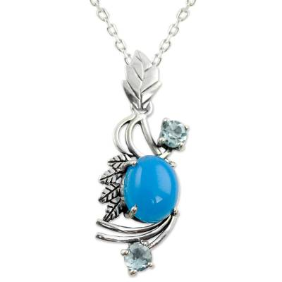 Chalcedony and Blue Topaz Pendant Necklace