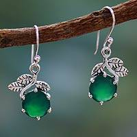 Sterling silver dangle earrings, 'Forbidden Fruit' - Green Onyx Earrings in Sterling Silver Jewelry from India