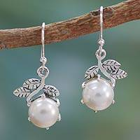 Cultured pearls dangle earrings, 'Forbidden Fruit' - Cultured pearls dangle earrings