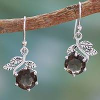 Smoky quartz dangle earrings, 'Forbidden Fruit' - Smoky quartz dangle earrings