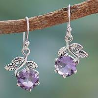 Amethyst dangle earrings, 'Forbidden Fruit' - Artisan Crafted Sterling Silver Amethyst Floral Earrings