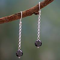 Hematite dangle earrings, 'Love Pendulums' - Hematite dangle earrings