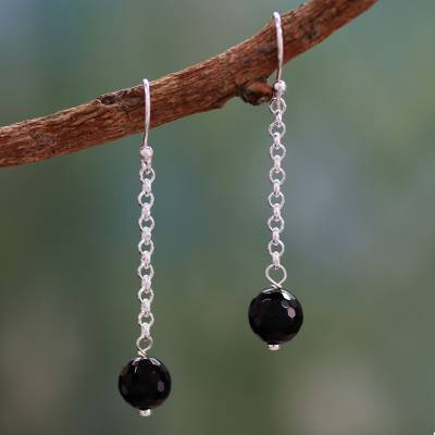 Onyx dangle earrings, Protection Pendulums