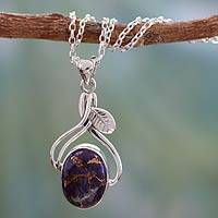 Sterling silver pendant necklace, 'Purple Dew' - Sterling silver pendant necklace