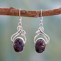 Sterling silver dangle earrings, 'Purple Dew' - Sterling silver dangle earrings