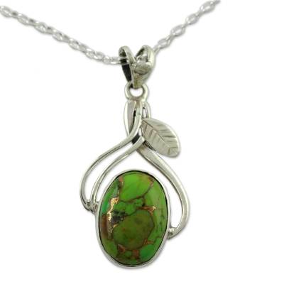 Fair Trade Sterling Silver Necklace with Composite Turquoise