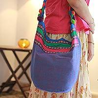 Cotton shoulder bag, 'Assam Collage' - Cotton shoulder bag