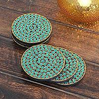 Bejeweled coasters, 'Aqua Glitz' (set of 6) - Bejeweled coasters (Set of 6)