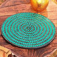 Mosaic vanity tray, 'Emerald Magic' - Mosaic vanity tray