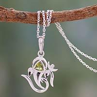 Peridot pendant necklace, 'Mystical Ganesha' - Women's Sterling Silver and Peridot Yoga Jewelry