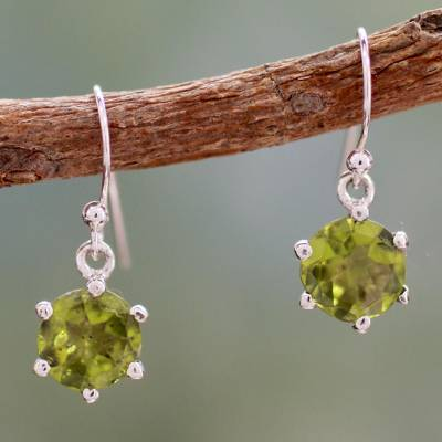 Peridot dangle earrings, 'Lime Solitaire' - Handcrafted Sterling Silver and Peridot Earrings