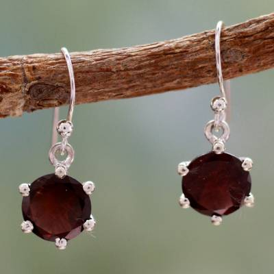 Garnet dangle earrings, 'Scarlet Solitaire' - Handcrafted Sterling Silver and Garnet Earrings