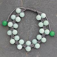 Amazonite beaded bracelet, 'Beauty and Hope' - Amazonite Hand-Knotted Beaded Bracelet