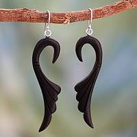 Ebony dangle earrings, 'Graceful Leaves' - Ebony Wood Earrings Carved by Hand