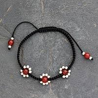 Carnelian Shambhala-style bracelet, 'Jaipuri Blossom' - Carnelian Shambhala-style bracelet