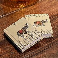 Handmade paper journals, 'Royal Elephants' (pair) - Handmade paper journals (Pair)