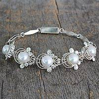 Cultured pearl link bracelet, 'Grand Romance' - Cultured pearl link bracelet