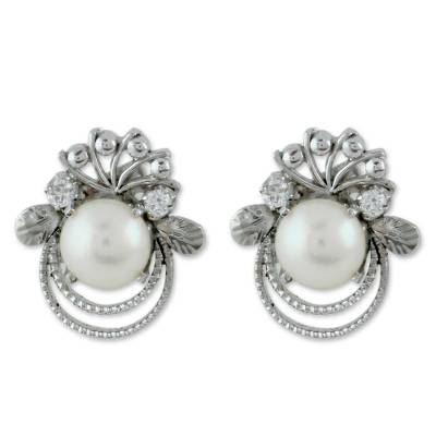 Cultured pearl button earrings