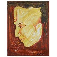 'Golden Age' - Buddha Portrait Painting India Fine Art Signed
