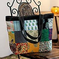 Recycled cotton tote handbag, 'Eco-Garden' (India)