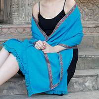 Wool shawl, 'Turquoise Kiss' - Wool Wrap Shawl Hand Embroidered Turquoise Floral