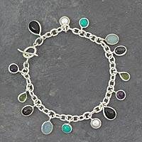Gemstone charm bracelet, 'Jaipur Enchantment' - Gemstone charm bracelet
